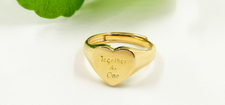 18k Gold Plated 'Together As One' Adjustable Heart Signet Ring